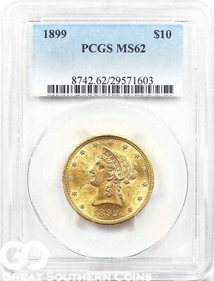 1899 PCGS Gold Eagle, $10 Gold Liberty PCGS MS 62 ** Lustrous, Free Shipping!
