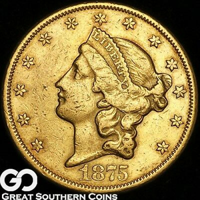 1875-CC Double Eagle, $20 Gold Liberty, Tough Better Date Carson City Gold Issue