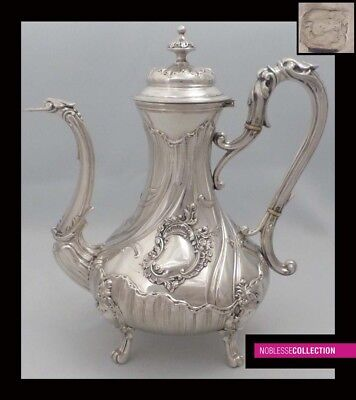 LUXURIOUS ANTIQUE 1890s FRENCH ALL STERLING SILVER COFFEE/TEA POT Rococo style