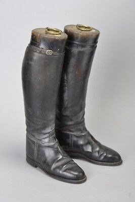 Ladies' 1950s' Bespoke s5 Black Leather Riding Boots & Wooden Trees. CRJ