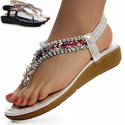 3a72b852ae1 Ladies  Shoes Glitter Toe post Sandals Sneakers Flower Embellished Platform