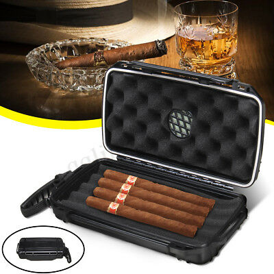 AU Waterproof Travel 5 Cigar Cigarette Caddy Case Box Humidor Humidifier Storage