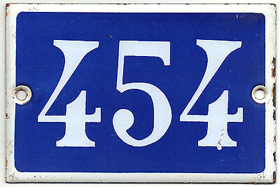 Old blue French house number 454 door gate plate plaque enamel steel metal sign