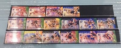 Australian 1996 Australia AFL set of 16 S/A stamps, used Off Paper