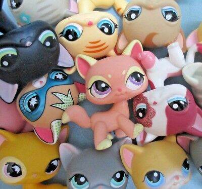 Littlest Pet Shop Set Lot 3 Random Shorthair Siamese Kitten Cats Surprise Lps