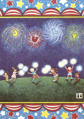 JULY Fireworks Sparklers Month-Handcrafted Fridge Magnet-w/Mary Engelbreit art