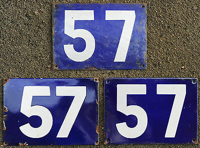 Giant old French blue house number 57 door gate plate steel enamel street sign