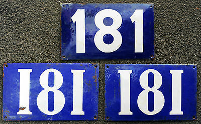 Giant old French blue house number 181 door gate plate steel enamel street sign