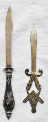 2 VTG Silver Letter Openers Siam Sterling & .800 Masonic w Compass