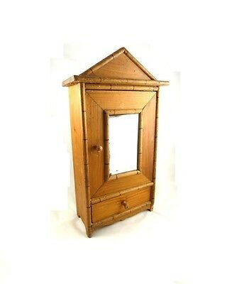 French Faux Bamboo Miniature  Pine Armoire Salesman Sample  - Doll Furniture