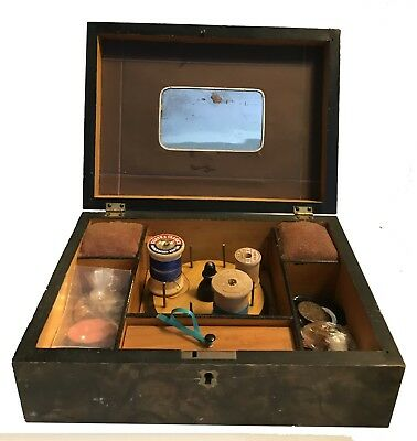 Antique Sewing Box Faux Painted Full of Sewing Notions - NR!