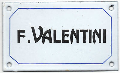 Old French enamel steel building door gate sign plaque notice name F Valentini
