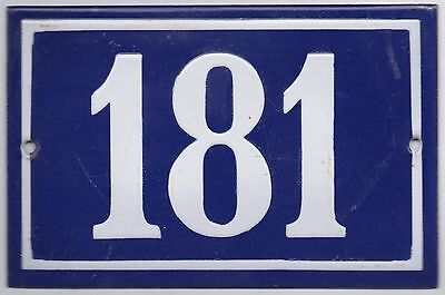 Old blue French house number 181 door gate plate plaque enamel metal sign steel