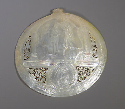 Fine Antique Mop Mother Of Pearl Carved & Pierced Shell Icon Baptism Scene?