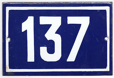 Old blue French house number 137 door gate plate plaque enamel steel metal sign