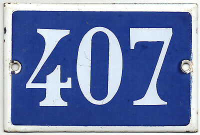 Old blue French house number 407 door gate plate plaque enamel steel metal sign