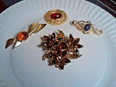 Vintage Brooches / Pins  Lot Of 4 Large, Old, Beautiful Items