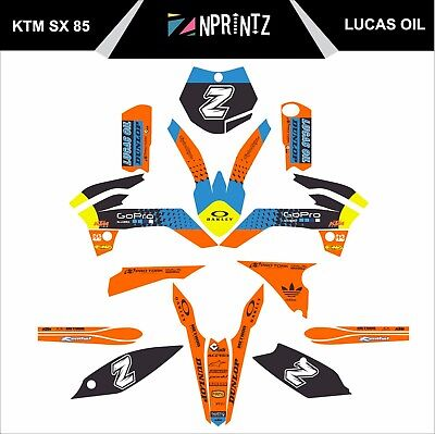 Ktm Sx 85 2013 Decals Full Sticker Kit With Your Number ! Lucas Oil