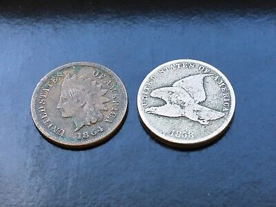 Lot of 2- 1864 Indian Head Penny and 1858 Flying Eagle - US Coins