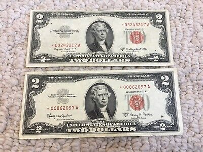 Lot of 2- 1953 B and 1963 A $2 Red Seal Star Notes - US