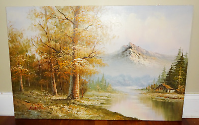 Vintage Large Oil On Canvas Mountain Forest Lake House Landscape Painting Signed