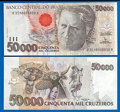 Brazil P-234 50,000 Cruzeiros Year  ND 1992Uncirculated Banknote