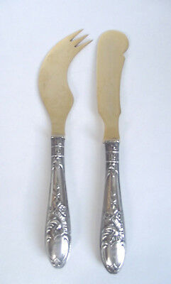 2 Piece ESTONIA 875 Silver CHEESE KNIFE PICK SPREADER FLORAL HANDLE SERVING SET