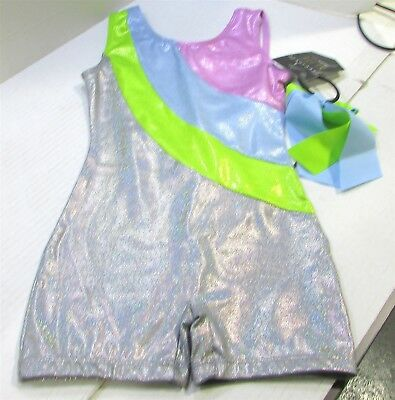 Freestyle by Danskin Girls' Biketards - Silver Size 6/6X