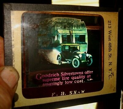 Vintage Goodrich Silvertowns Tire Glass Magic Lantern Slide F.b. Shaw N.y.c.
