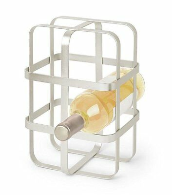 Umbra PULSE Wine Rack NICKEL Holds up to 6 Bottles METAL WIRE