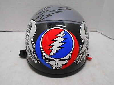Grateful Dead Steel Your Face Skull Skid Lid Half Face Motorcycle Helmet Medium
