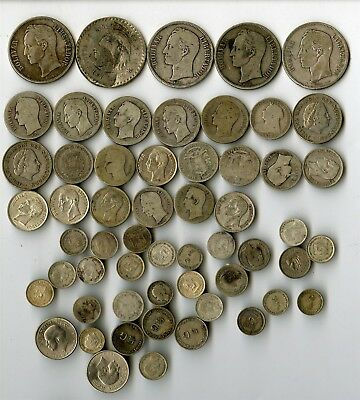 56 Assorted Foreign Coins, Mostly Silver
