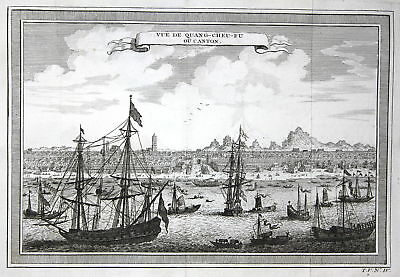ca 1750 Guangzhou China Canton view Ansicht port Hafen Kupferstich antique print