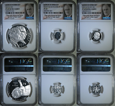 Proof 2015 March of the Dimes Silver 3 Coin Set ~ NGC Graded PF69