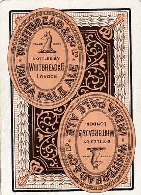 """WIDE RARE VINTAGE """"Whitbread (Bottle Label) British Brewery"""" SINGLE Play Card"""