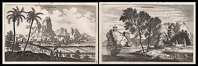 1668 China Asia view Ansicht city Stadt Berge Kupferstich antique print Nieuhof