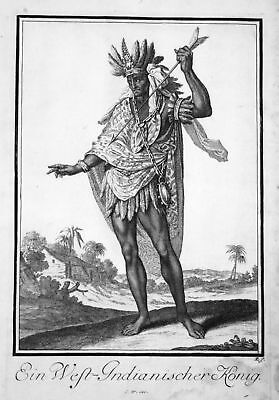 1703 Indianer Native American king König Kupferstich antique print Sancta Clara