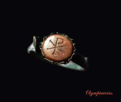 ** EXCELLENT ** ROMAN or BYZANTINE Bronze  ring ** CHI -RHO **