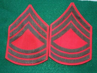 WWII US Marine Corps USMC Master Sergeant MSgt Rank Stripes Patches Pair Lot