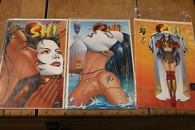 Three SHI Comics SIGNED by William Tucci and ONE Other Signature -- # 5 , 7, 8