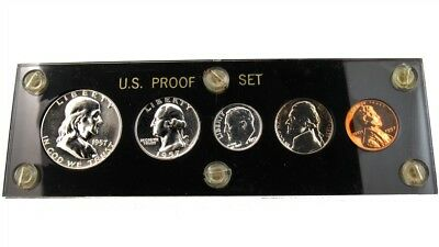 1957 US Mint Silver Proof Set in Holder - 5 Coins, Great Mirrors, True Auction