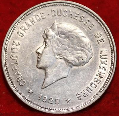 1929 Luxembourg 5 Francs Silver Foreign Coin