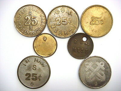 7 different military trade tokens