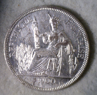 FRENCH INDO CHINA PIASTRE 1900 VIETNAM LARGE SILVER   (stock# 344)