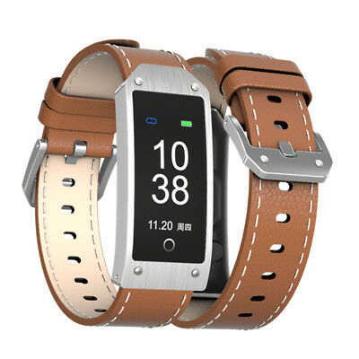 Y2 Waterproof Smart Bluetooth Wristband GPS Heart Rate Monitor Leather Watch NEW