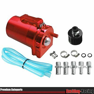 RED Cylinder Aluminum Engine Oil Catch Can Tank Reservoir Breather Filter Kit