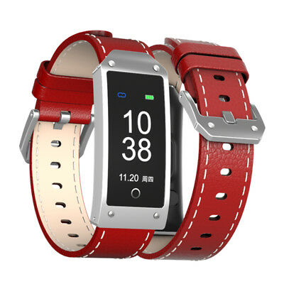 Waterproof Smart Bluetooth Wristband GPS Heart Rate Monitor Leather Watch RED