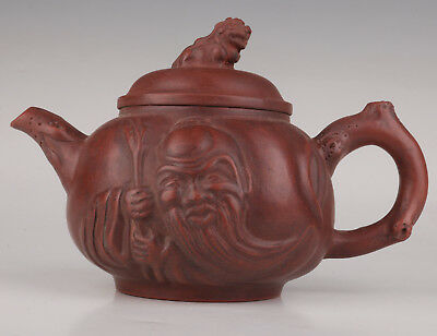 Vintage Red Clay Teapot Kettle Old God Immortal Bottom Seal Li Maolin