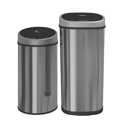50L Stainless Steel Automatic Sensor Touchless Kitchen Waste Bin Oval/Round