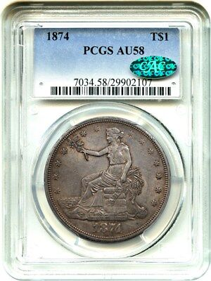 1874 Trade$ PCGS/CAC AU58 - Lustrous Slider - US Trade Dollar - Lustrous Slider